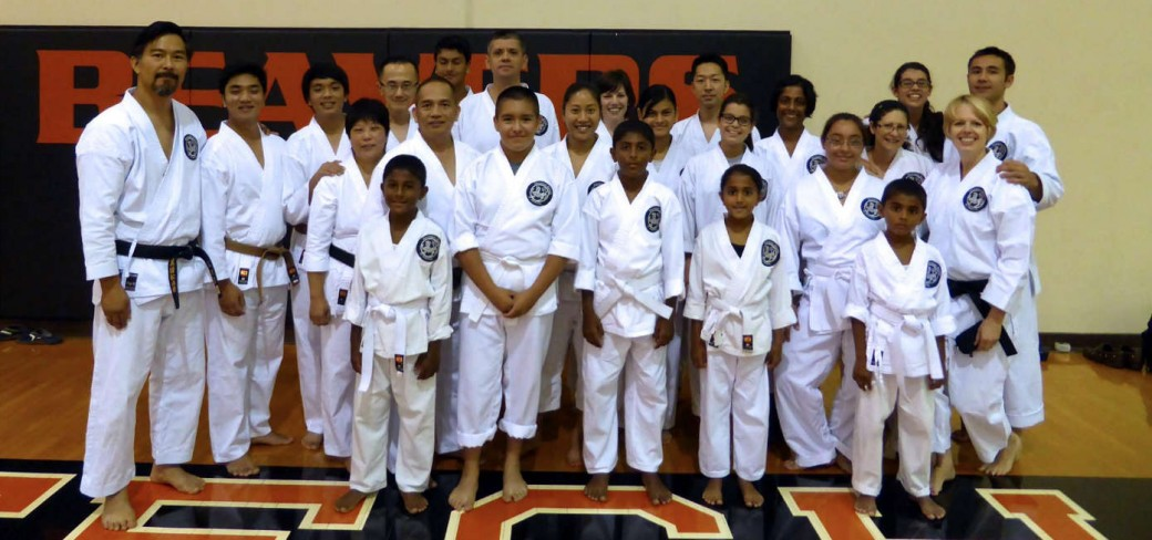 Curt Wvong, leader, with members of the Cupertino Dojo
